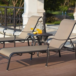 Mountain View 3 Piece Cast Aluminum Sling Patio Chaise Lounge Set By Darlee  image