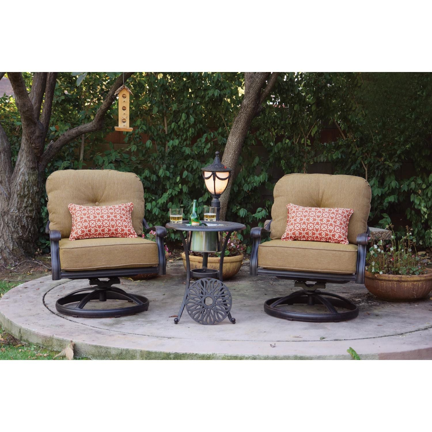 Darlee Elisabeth 3 Piece Cast Aluminum Patio Conversation Seating Set With Sw