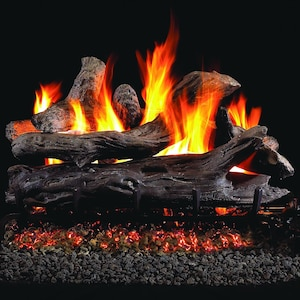 Peterson Real Fyre 18-Inch Coastal Driftwood Outdoor Gas Log Set With Vented Natural Gas Stainless G45 Burner - Match Light image