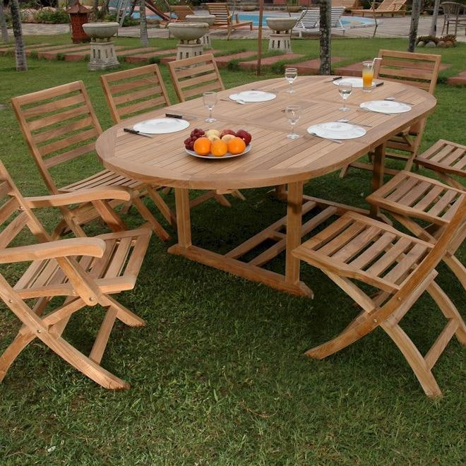 Amazing Anderson Teak Bahama Andrew 8 Person Teak Patio Dining Set With Extension  Table And Folding
