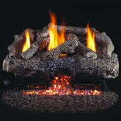 Peterson Real Fyre 24-Inch Charred Frontier Oak Indoor/Outdoor Gas Log Set With Vent-Free Natural Gas Stainless ANSI Certified G10 Burner - Electronic Non-Standing Pilot W/ Variable Flame Remote image