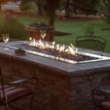 White Mountain Hearth By Empire Carol Rose 48-Inch Natural Gas Outdoor Linear Fire Pit Kit W/ Manual Electronic Ignition - OL48TP10N image