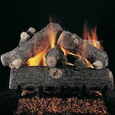 Rasmussen 30-Inch Prestige Oak See-Thru Gas Log Set With Vented Natural Gas Custom Pan Burner - Match Light
