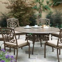 Darlee Santa Barbara 7 Piece Cast Aluminum Patio Dining Set With Round Table - Mocha