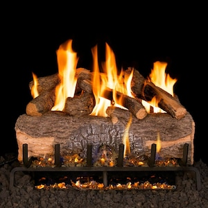 Peterson Real Fyre 18-Inch Mountain Crest Oak Gas Log Set With Vented G31 Three-Tiered Natural Gas Burner - Match Light image