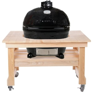 Primo Oval XL 400 Ceramic Kamado Grill On Compact Cypress Table With Stainless Steel Grates - 778 image