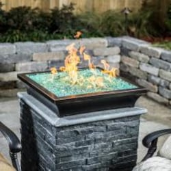 Lakeview Outdoor Designs Lavelle 18-Inch Square Low-Rise Natural Gas Column Fire Bowl - Oil Rubbed Bronze image