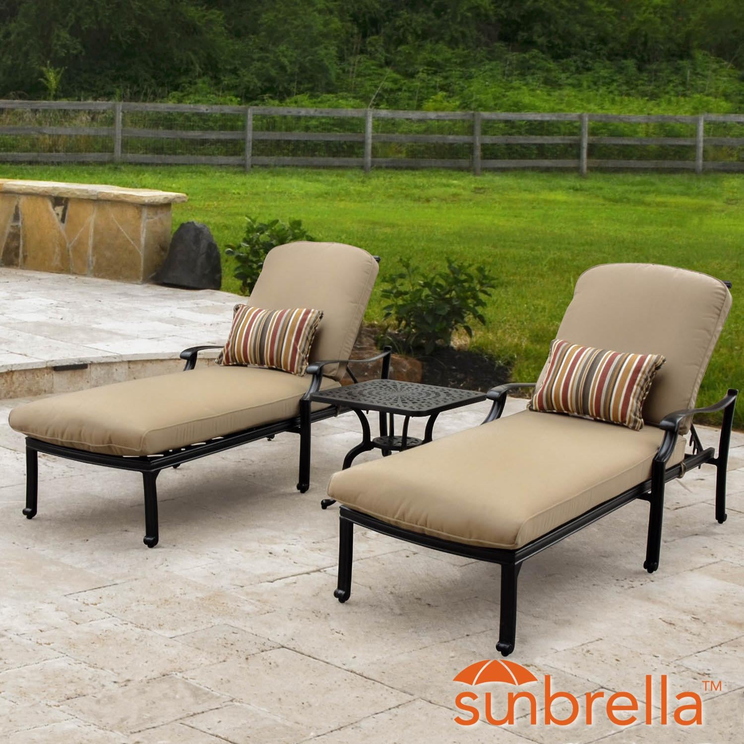 Bocage 3 Piece Cast Aluminum Patio Chaise Lounge Set W/ Sunbrella Heather  Beige Cushions By Lakeview Outdoor Designs