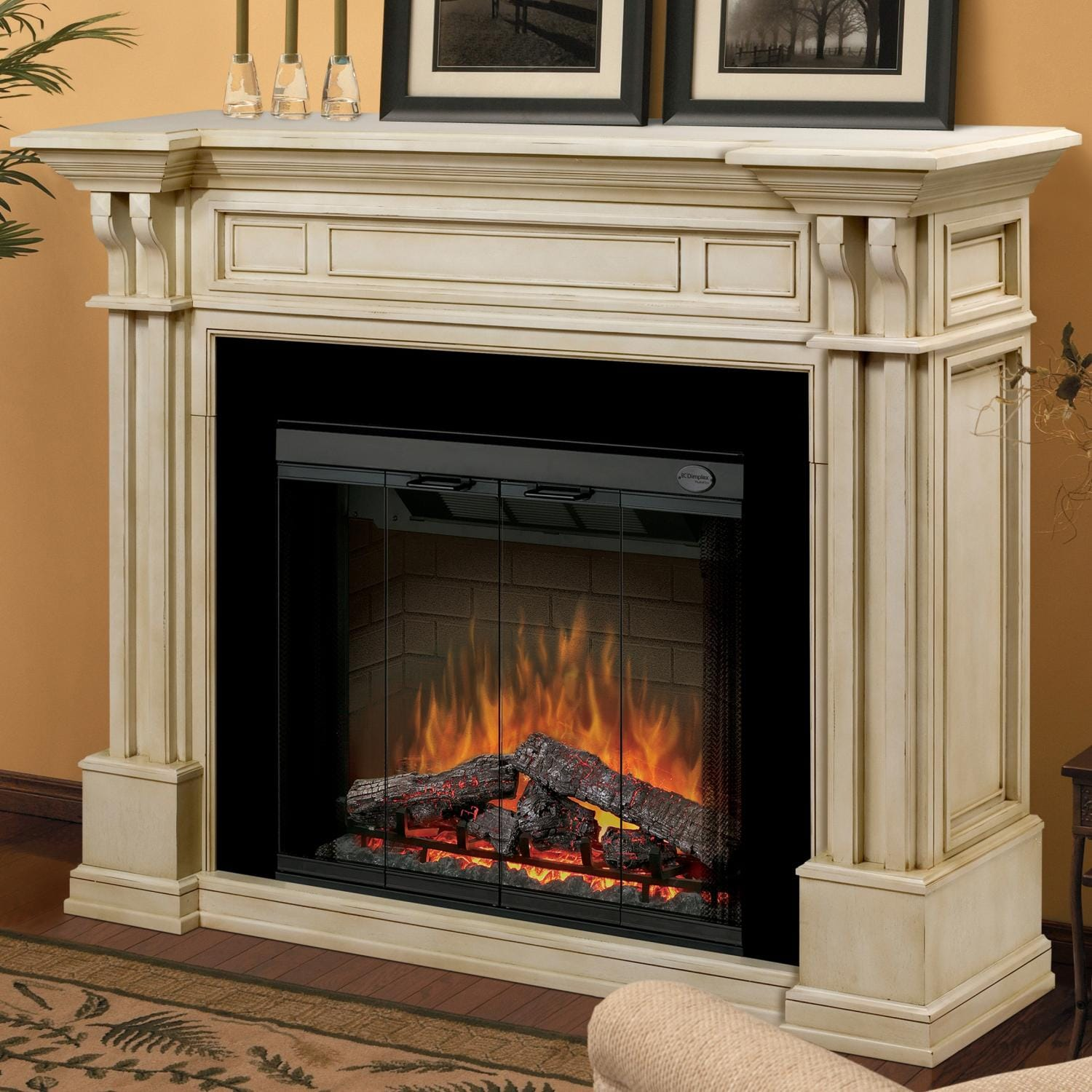 Dimplex Kendal 63 Inch Electric Fireplace With Purifire Parchment Gds32 1164p Fireplace