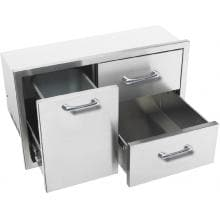 Caliber 36-Inch Stainless Steel Double Access Drawer With Roll-Out Trash / Propane Tank Bin
