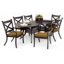 Avondale 7 Piece Aluminum Patio Dining Set With Oval Table By Lakeview Outdoor Designs - Canvas Teak