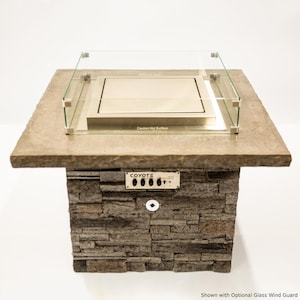 Blazing Beats Laguna Stacked Stone 38-Inch Fire Table W/ Bluetooth Audio - Natural Gas - COY-LAGS-BB-NG image