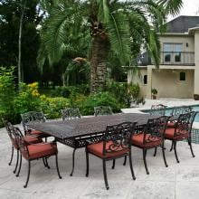 Villa Flora 11 Piece Cast Aluminum Patio Dining Set W/ Rectangular Table & Sunbrella Canvas Henna Cushions By Lakeview Outdoor Designs image