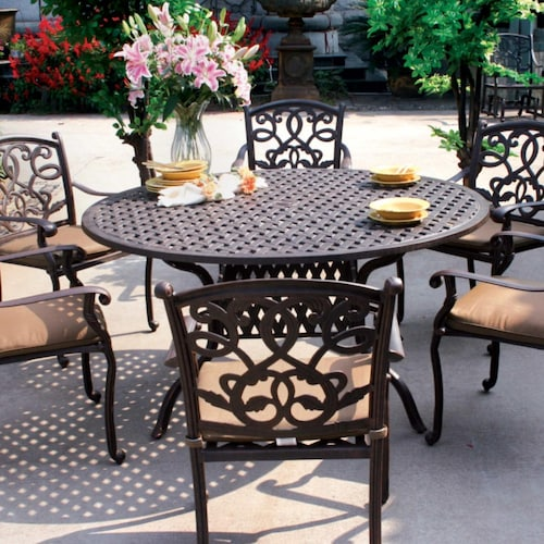Darlee Santa Monica 7 Piece Cast Aluminum Patio Dining Set With Round Table
