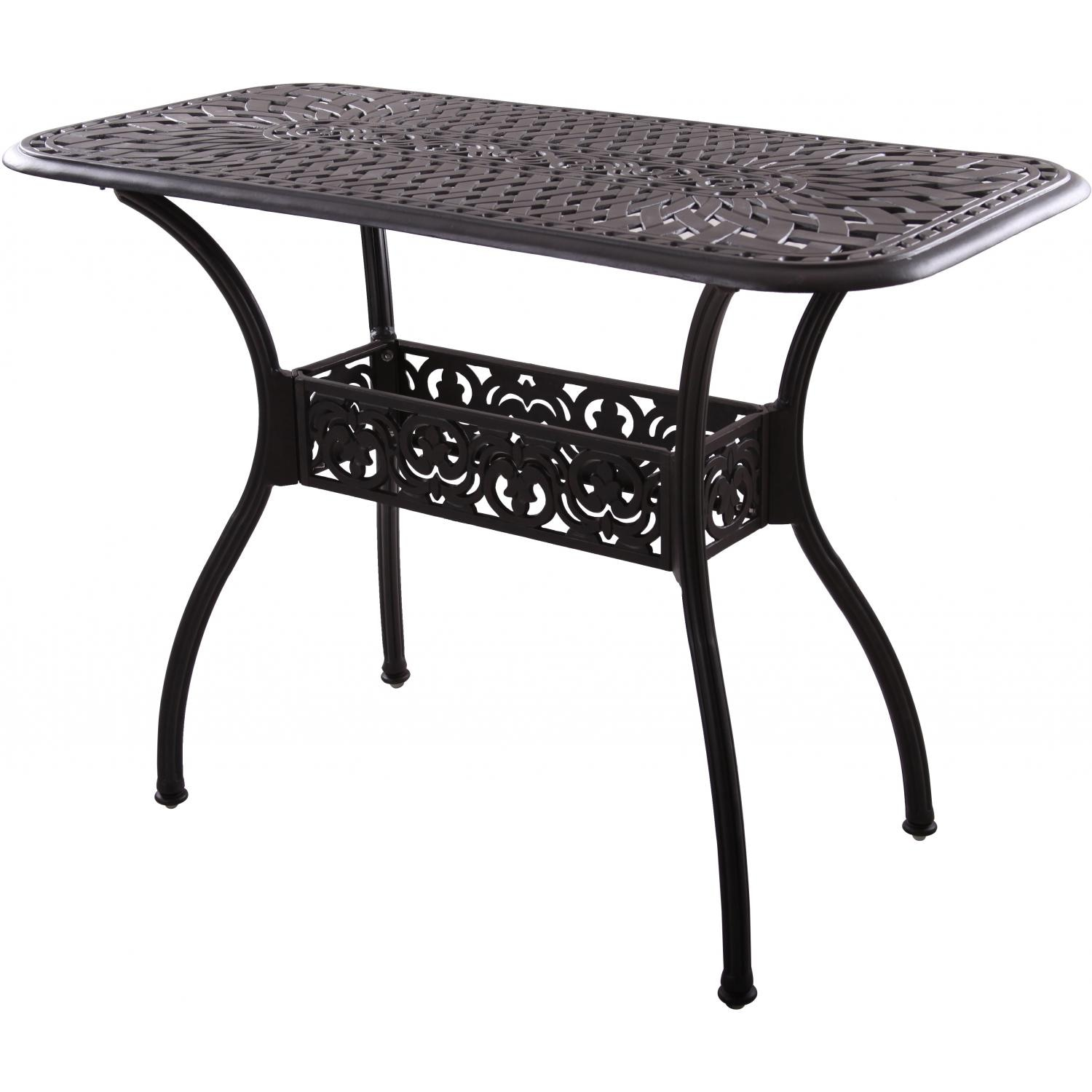 Darlee Series 60 52 X 26 Inch Cast Aluminum Counter Height Patio Serving Table Mocha