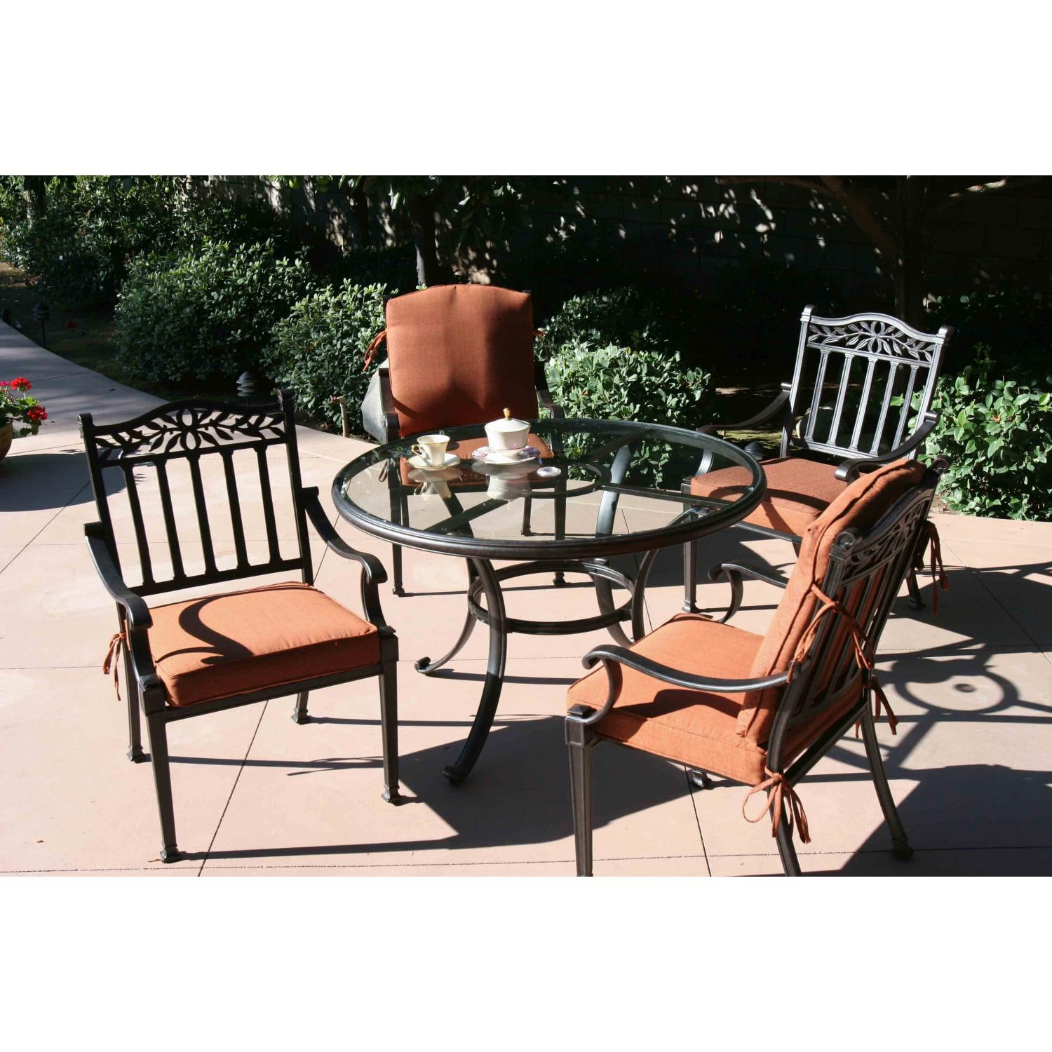 Darlee Charleston 5 Piece Cast Aluminum Patio Dining Set With Glass Top Table