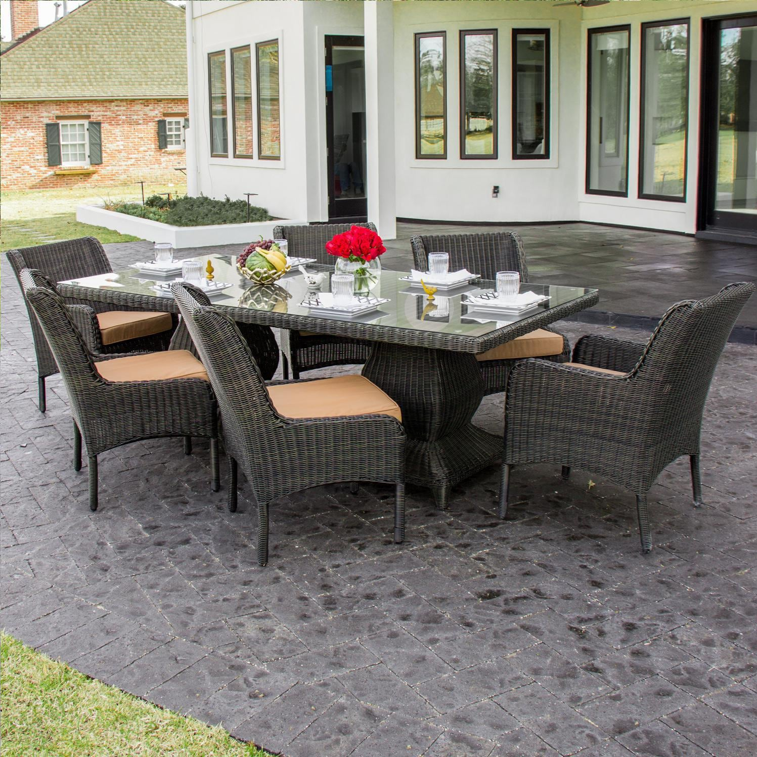 Bienville 7 Piece Resin Wicker Patio Dining Set By