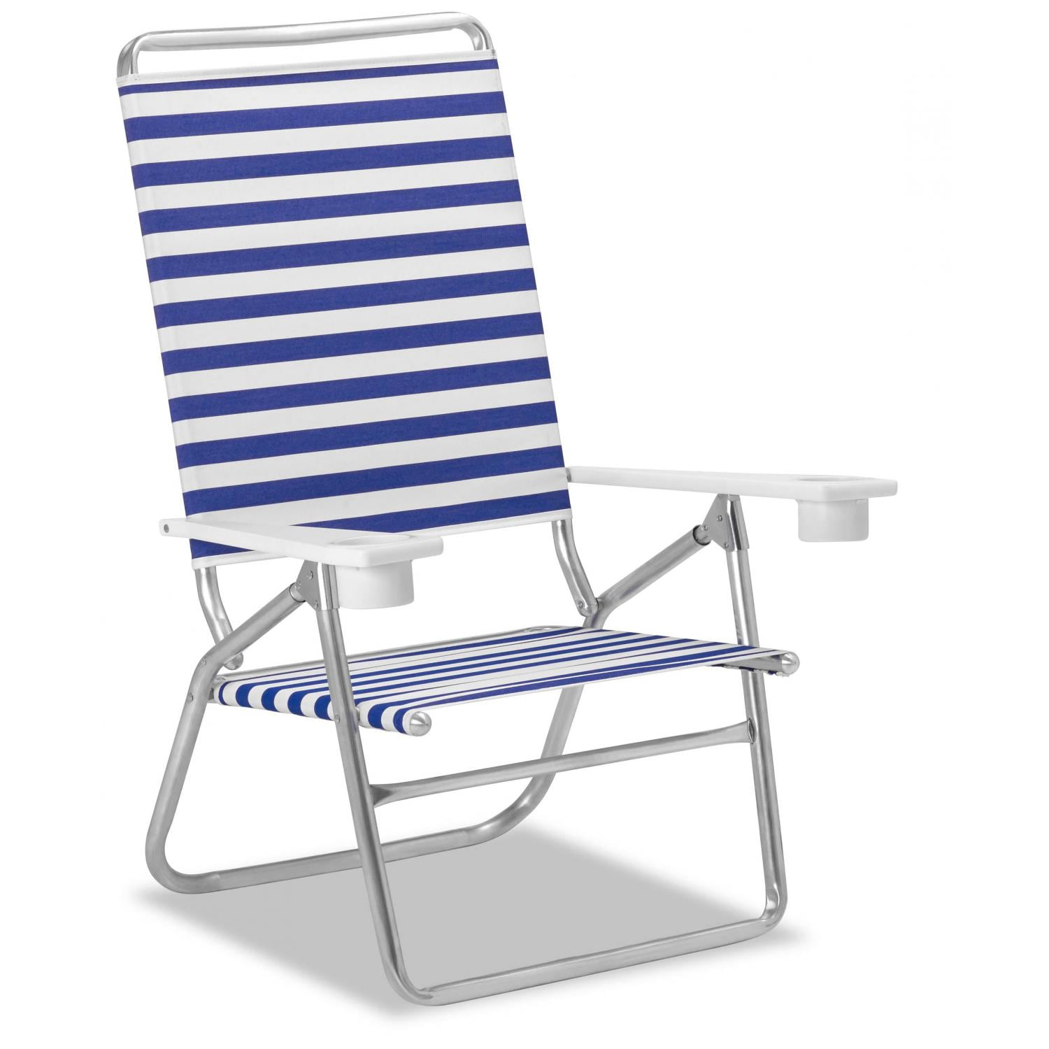 Light N Easy High Boy Folding Aluminum Beach Chair With Cupholders By Telescope Casual Blue