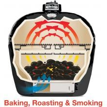 Primo Ceramic Charcoal Smoker Grill - Oval XL Primo Oval Cooking Configuration - Baking, Roasting & Smoking