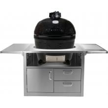 Primo Ceramic Smoker Grill On Stainless Steel Cart - Oval XL