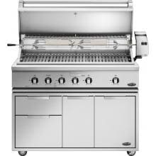DCS Professional 48-Inch Freestanding Natural Gas Grill With Rotisserie On DCS CAD Cart - BH1-48R-N DCS 48-Inch Grill On CAD Cart - Hood Open