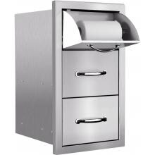 Summerset 15-Inch Stainless Steel Masonry Double Access Drawer With Paper Towel Holder - SSTDC-M image