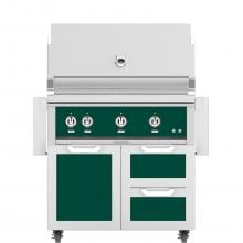 Hestan 36-Inch Freestanding Propane Gas Grill W/ Rotisserie On Double Drawer & Door Tower Cart - Grove - GABR36-LP-GR image
