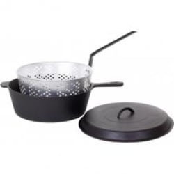 Cajun Classic 12-Quart Seasoned Cast Iron Chicken Fryer With Basket - GL10495BS image