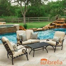 Elysian 4 Piece Patio Conversation Set W/ Loveseat & Sunbrella Canvas Antique Beige Cushions By Lakeview Outdoor Designs image