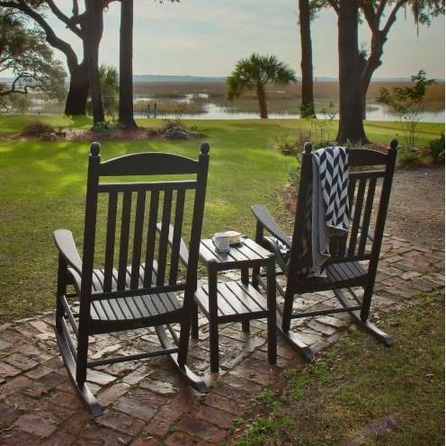 jefferson 3 piece recycled plastic wood patio rocking Wrought Iron Rocking Chair Rattan Rocking Chair Bistro Set