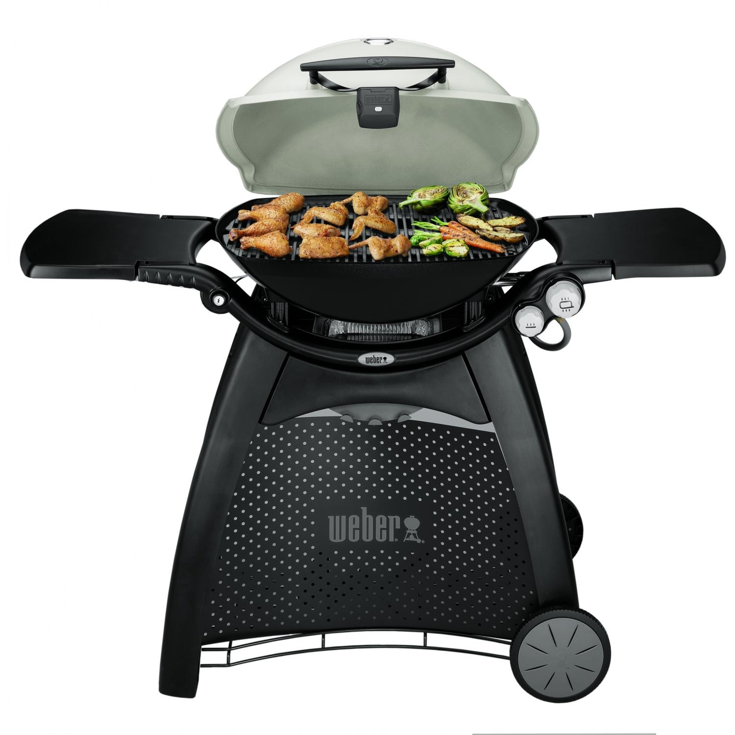 weber q 3200 propane gas grill on cart titanium bbq guys. Black Bedroom Furniture Sets. Home Design Ideas