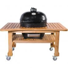 Primo Ceramic Charcoal Smoker Grill On Teak Table - Oval XL