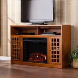 Southern Enterprises Narita 48-Inch Electric Fireplace Media Console - Glazed Pine - FE9302 image