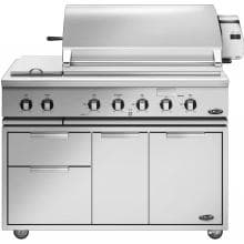 DCS 48-Inch Gas BBQ Grill On Cart W/ Double Side Burner & Rotisserie - BGC48-BQR-L