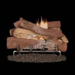 Superior Fireplaces 24-Inch Giant Timbers Gas Log Set With Outdoor Vent-Free Propane Mega Flame Burner - Touch Screen Remote Control Kit image