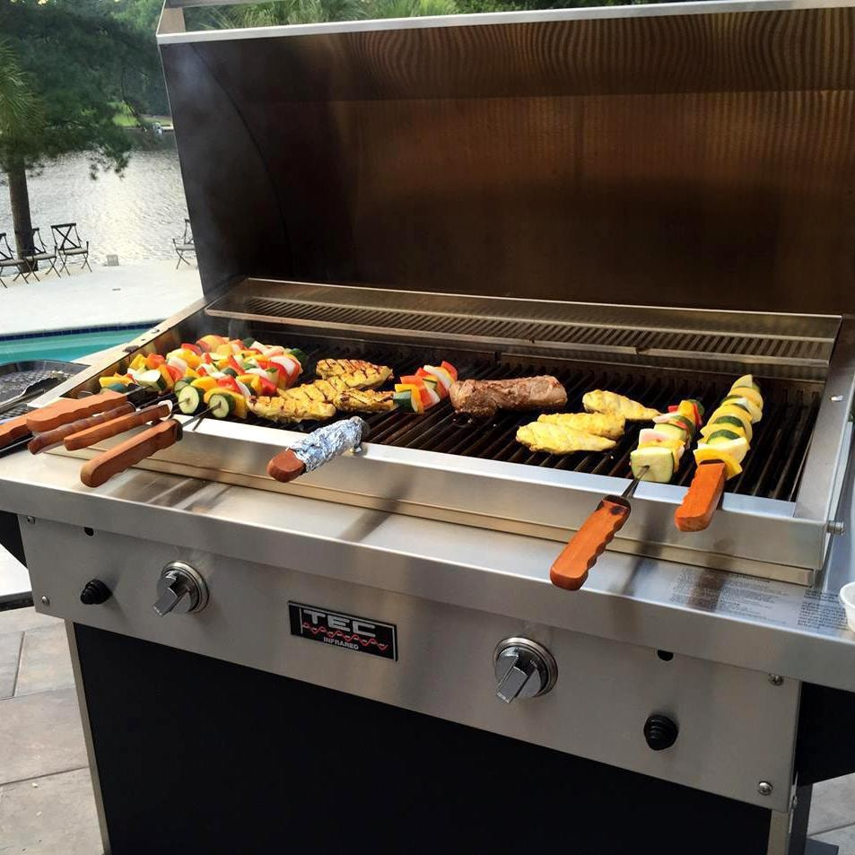TEC Patio FR 44 Inch Infrared Grill   Grilling Kabobs (Shown With Warming  Rack   Sold Separately)