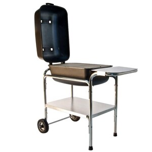 Portable Kitchen Cast Aluminum Charcoal Grill & Smoker - Graphite image