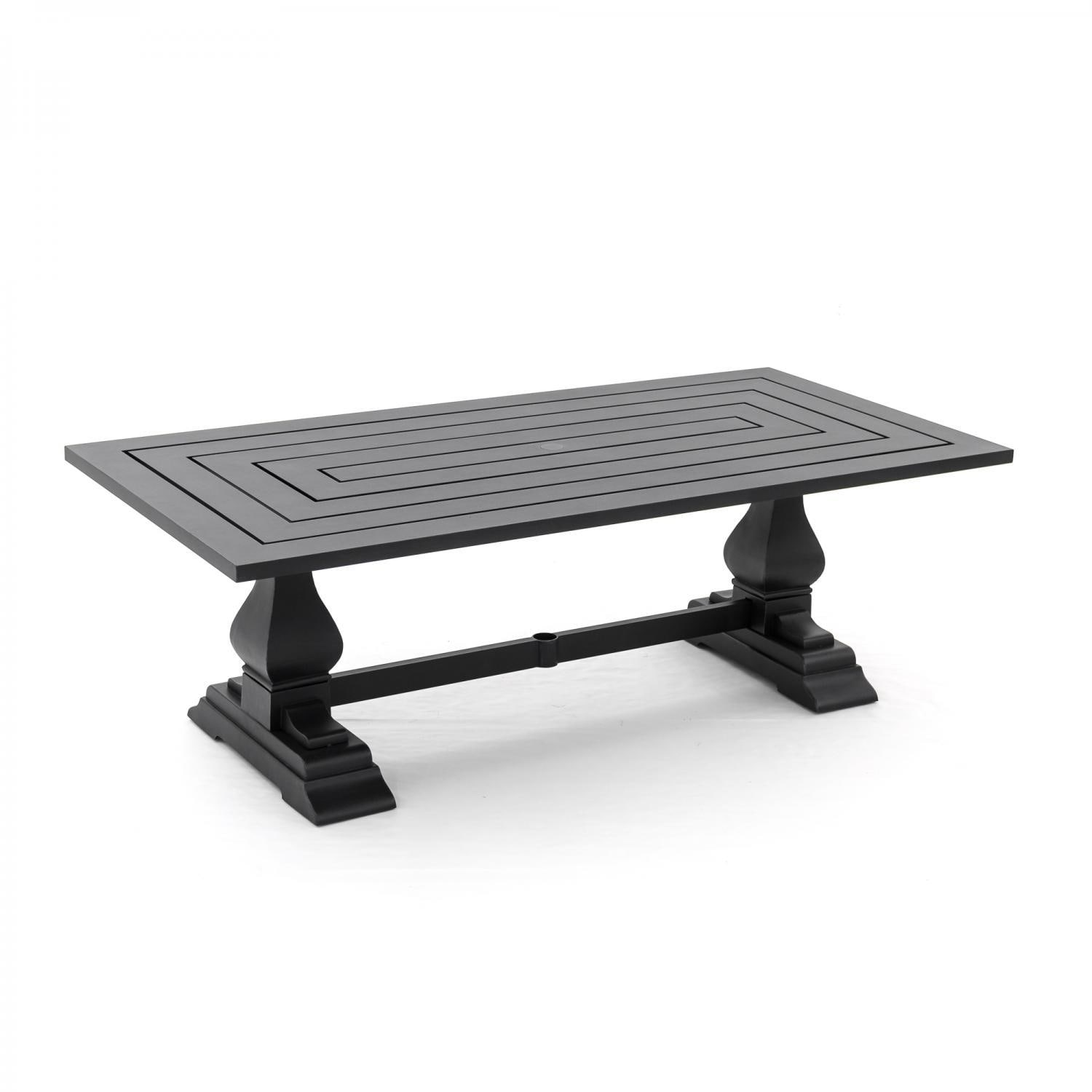St Charles X Inch Cast Aluminum Rectangular Patio Dining - Rectangular metal patio dining table