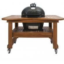 Primo Ceramic Smoker Grill On Teak Table - Oval Large