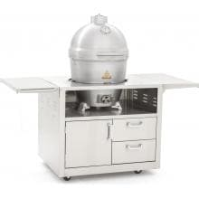 Blaze 20-Inch Cast Aluminum Kamado Grill On Deluxe Stainless Steel Cart Blaze 20-Inch Cast Aluminum Kamado Grill - Angled View