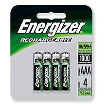 Energizer Rechargeable Batteries, NiMH AAA (Per 4)