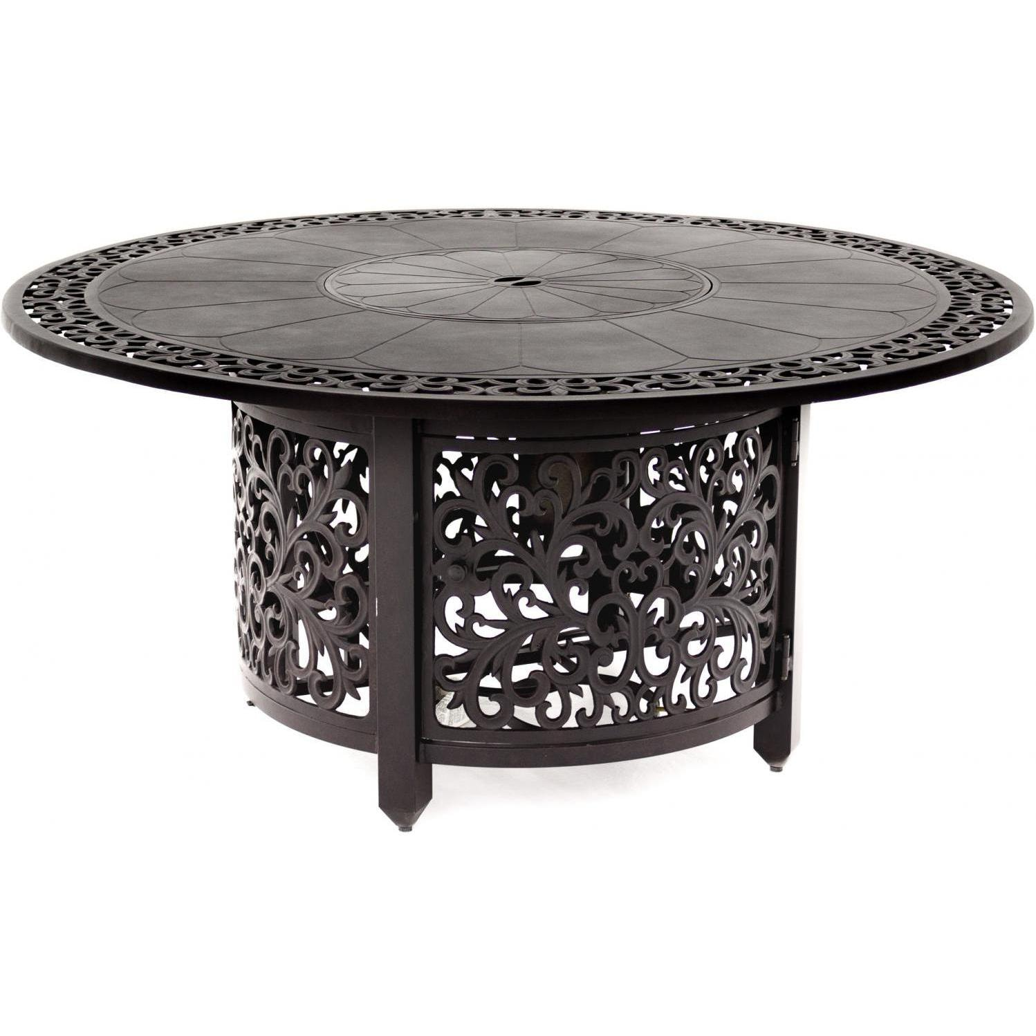 60 Inch Propane Fire Pit Dining Table By Lakeview Outdoor Designs   Antique  Bronze