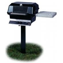 MHP JNR4 Propane Gas Grill With Nu-Stone Shelves And Stainless Grids On In-Ground Post MHP JNR4 Freestanding Gas Grill With Nu-Stone Shelves & Stainless Grids