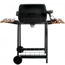 Aussie Electric Grills By Meco - 9325 Black Electric BBQ Grill On Cart With Fold Down Side Tables