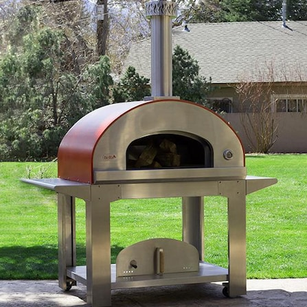 Bella Ultra 40 Inch Outdoor Wood Fired Pizza Oven On Cart Red Bbq Guys