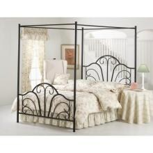 Hillsdale Dover Black Metal Canopy Bed Set With Frame - Queen - 348BQPR