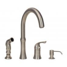 SIR Faucets Wide Spread Kitchen Faucet With Soap Dispenser And Spray - Brushed Nickel