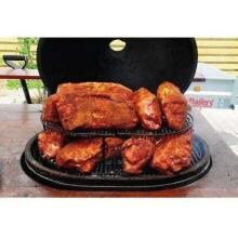 Primo Jack Daniels Edition Ceramic Charcoal Smoker Grill On Teak Table - Oval XL Primo Oval XL Cooking Possibilities