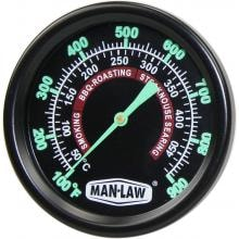 Man-Law 2-Inch Stainless Steel Grill/Smoker Thermometer With Glow In The Dark Dial And Threaded Probe image