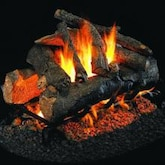 Peterson Real Fyre 18-Inch American Oak Indoor/Outdoor See-Thru Gas Log Set With Vented Natural Gas Stainless G45 Burner - Match Light